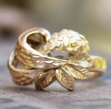 9ct Yellow Gold Ring Flowers Jewellery Jewelry Gift Sz I Vintage 9K 9C SMALL