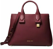 03630ae49410a2 New MICHAEL KORS Rollins Medium python embossed satchel bag leather Gold  oxblood