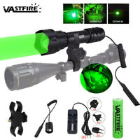 Red/Green Scope Light Zoomable Hunting Flashlight Rifle Gun Mount+18650+Charger
