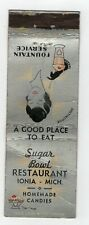 Sugar Bowl Restaurant Ionia Michigan Vintage Matchbook Cover B41