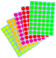 Neon Multicolored 17 mm ~3/4 Inch Color Coding Labels Round Dots 480 Pack Sheets