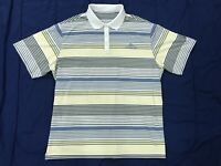 Nike Dri-Fit White Striped Spandex Golf Polo Shirt Mens Size XXL 2XL