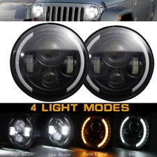 2x 7inch LED Headlights Halo Angel Eyes Headlights For Jeep Wrangler JK 07-2017
