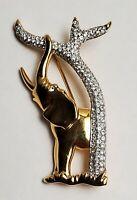 Swarovski Crystal Brooch Elephant Gold Tone Rhinestone Trunk Up Swan Signed