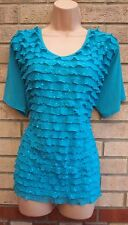 AGASY TURQUOISE RUFFLE BEADED FRILL FRILLY  BLOUSE TOP T SHIRT TUNIC CAMI XXL