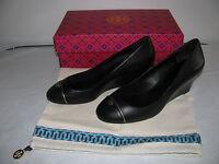 Tory Burch Women's Black TIFFY Wedge-Mason Leather Slim Wedge Heel Shoes 8 NEW