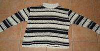 Damen Strick-Pullover S-M 36-38-40 beige-schwarz-grau Strick-Pulli Rundhals