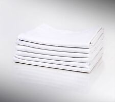 24 NEW WHITE COTTON RICH PILLOW CASES KING SIZE 20X40 T180 PERCALE HOTEL LINEN