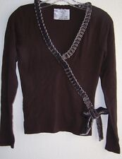 Leo Guy Sample Shirt Runway UK Designer Brown Knit w Chain and Velvet Bow S/M