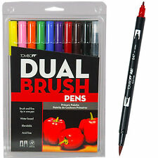 Tombow 56167 Dual Brush Pens, Primary Colors, 10 Marker Set
