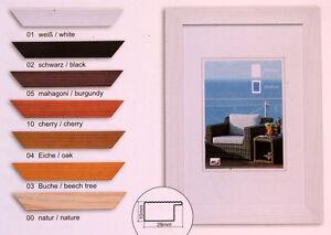 Bilderrahmen Holz Rahmen Echtglas HR23  10x15 bis 40x50 cm verschiedene Farben