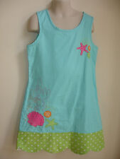 HARTSTRINGS GIRLS PAGEANT DRESS size 8 BLUE GREEN WHITE PINK SEA SHELL BEAUTIFUL
