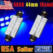 2X Ultra Blue Festoon 44mm 5050 10-SMD 6411 212-2 12864 Dome Map Door LED Light