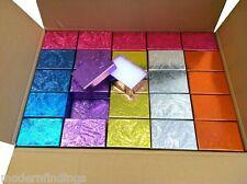 "100 COTTON FILLED JEWELRY BOXES (MIX COLOR) 3 1/4"" X 2 1/4"" X 1"" WHOLESALE"