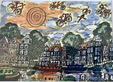 Amsterdam Smallest Gallery Canal Bicycle Art Print Signed Sonja Bolton Bolten