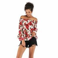 Women casual chiffon summer shirt Floral blouse t shirt loose boho off shoulder