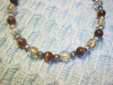 10 3/4 inch Brown and Tan Glass Bead Anklet Bracelet w/ Silver Spacers E-83