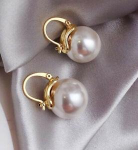 12mm Tahitian white South Sea Shell Pearl Earring 18k gold Aurora Fashion