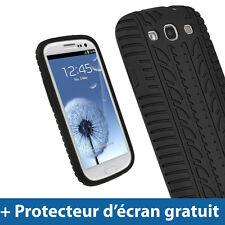 Noir Pneu Étui Housse Silicone pour Samsung Galaxy S3 III i9300  Smartphone