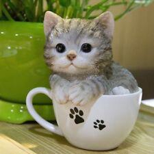 Tea Cup Orange Grey Kitten Cat - Life Like Figurine Statue Home/Garden NEW