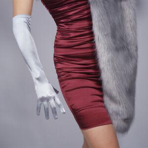 "Stretchy Satin Silk Gloves 50cm 20"" Opera Evening Extra Long Elbow Light Pink"