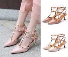 Hot Kitten Heel Studded Pointy Strappy Rivet Slingbacks Sandals Pink Women Shoes