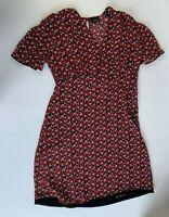 Bardot Red Black Floral Dress Size 12 Short Sleeve A-Line Summer Casual V-Neck
