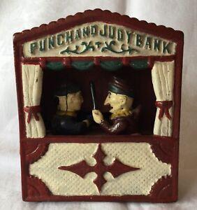 Ancienne Tirelire animée Américaine PUNCHAND JUDY BANK en Fonte mange pièce