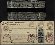 #PN1-18 1945 1c TO 90c POSTAL NOTE ISSUES USED SET WITH COMPLETE USED CARD