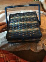 Dritz Sewing Basket Wicker Vintage Box Blue Turquoise White Japan Style
