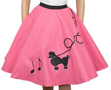 "Hot Pink FELT Poodle Skirt with Notes _  Adult Size LARGE _ Waist 35""- 41"""