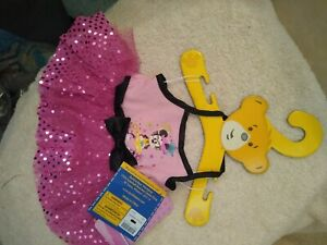 Build a Bear Pink Minnie Mouse Halter Dress with Sequins Black & Bow nwt tagd