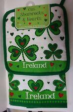 IRELAND SHAMROCK AND HEART CLARA COTTON POT HOLDER & TEA TOWEL SET
