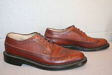 8.5 D Vtg 1970s Brogue Longwing Wingtip Brown Leather 70s Sears Mens Oxford Shoe