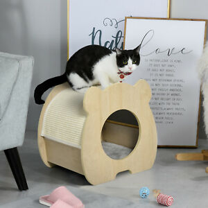 Wooden Cat House Hideout Kitten Bed w/ Sisal Scratching Pad Soft Plush Cushion