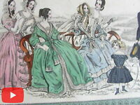Fashion Plates lot x 10 U.S. & Europe 1842-1860's hand colored beautiful styles