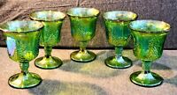Indiana Glass Iridescent Green Carnival Harvest Grape, Lot of 5