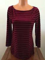 Ralph Lauren Womens Size Medium M Claret Striped Velvet Top Shirt Red 3/4 Sleeve