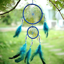 Home Car Blue Dream Catcher Circular With feather Wall Hanging Decoration Gift