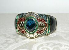 NIB $190 HEIDI DAUS *Signature Accent* Crystal Bangle Bracelet Onyx Enamel S/M