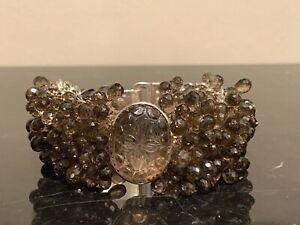 Vintage Sterling Silver Mesh Bracelet Covered with Smoke Topaz
