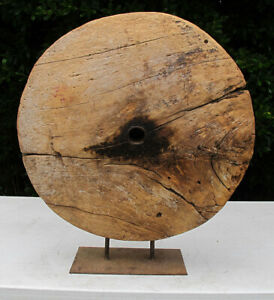 """Ancient Antique 15th C or Older Solid Wood Wheel 24"""" Across 7"""" Thick 60 lbs yqz"""