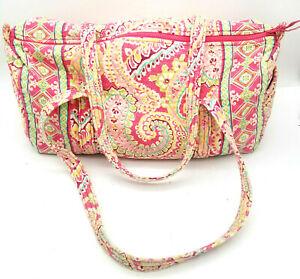 Vera Bradley Retired Capri Melon Print Pink Paisley Duffel Large Travel Bag