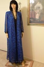 "LUCIE ANN ""RARE"" vintage Polyester SHEER BLUE & BLACK PEIGNOIR SET size S small"