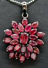 "$899 Genuine 8.35ctw Cambodian Ruby Black Sterling Silver ""Flower"" Pendant 7.3g"