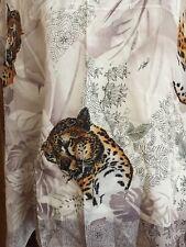 """Vintage Oscar De La Renta Animal Cat Figural Leopard Scarf 100% Rayon 31"""" Sq"""