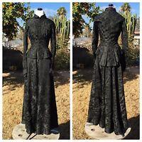 Antique 1880s Black on Black 2-Piece Dress Button-Front Shirtwaist Jacket Skirt