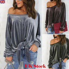 NEW LADIES WOMENS VELVET BLOUSE SHIRT LONG SLEEVE ONE SHOULDER LOOSE CASUAL TOPS