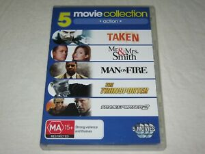 Taken + Man On Fire + The Transporter + Mr & Mrs Smith - Region 4 - VGC - DVD