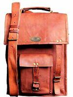 Men's Vintage Leather Messenger Shoulder Laptop Briefcase Vertical Long Bag New